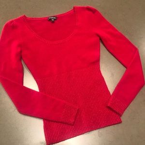 Bebe red cashmere sweater with metallic threads